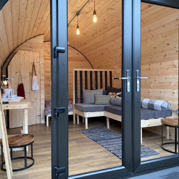 Glamping Pods Glass door