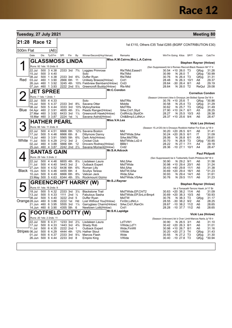 Racecard Meeting 80 Tuesday 27th July 2021-17