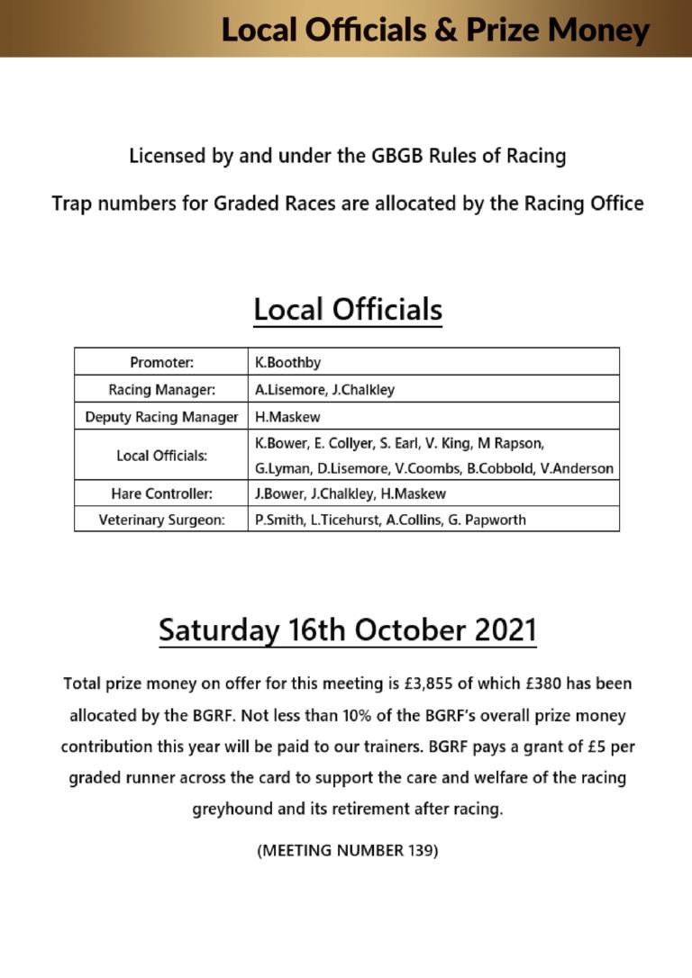 Racecard Meeting 139 Saturday 16th October 2021-02