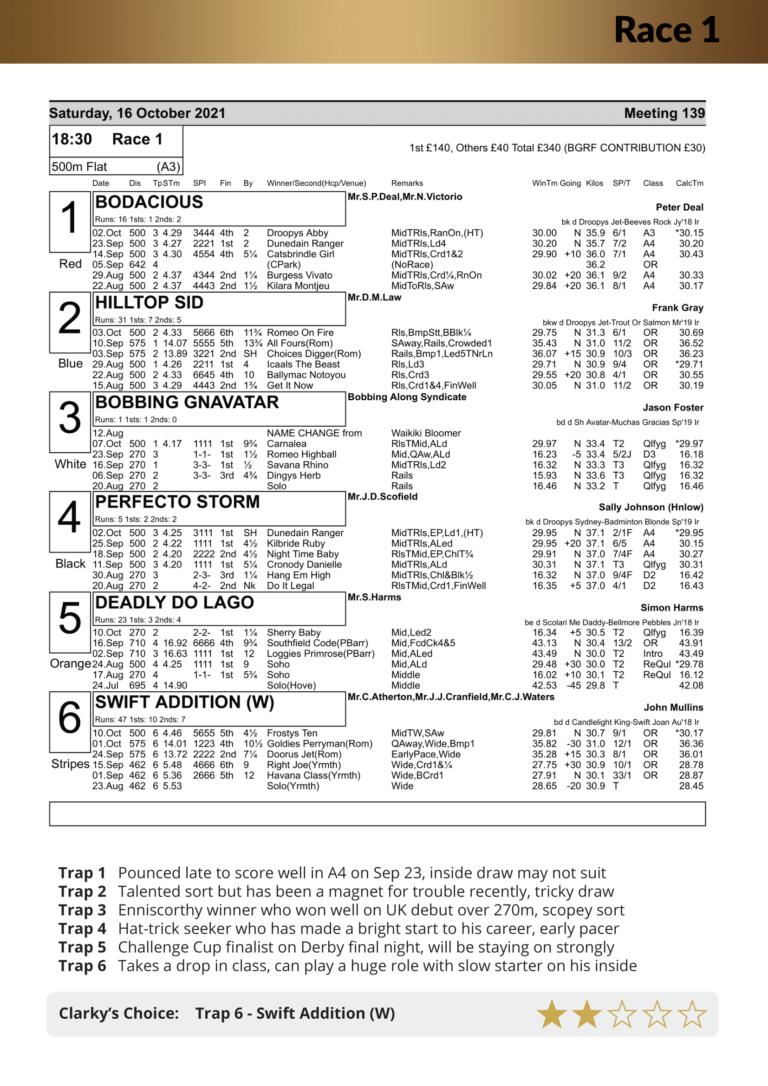 Racecard Meeting 139 Saturday 16th October 2021-08